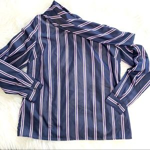 Banana Republic Blue Striped Off One Shoulder Top